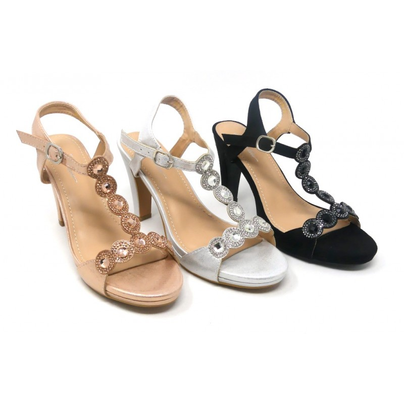 M1809 Zapatos Mujer Tacón Kiss Sandalia Carla Fiesta Perlas mwvN8On0